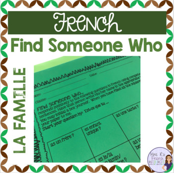 French family vocabulary Find Someone Who speaking activity