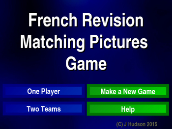 French First Year Vocabulary Interactive Matching Pairs Pi