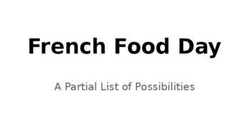 French Food Day Possibilities