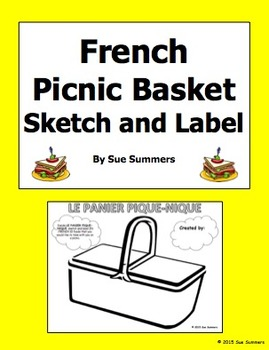 French Food Picnic Sketch and Label - Panier Pique-nique