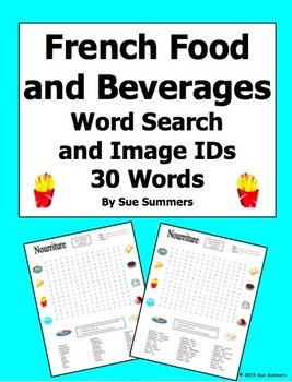 French Food and Beverages Word Search Puzzle, Image IDs, a