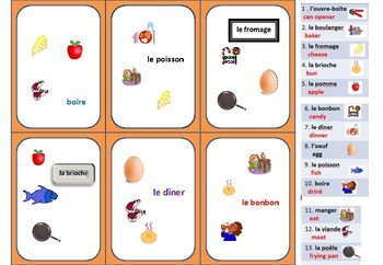 Spot It!   French (Food and Eating WORDS) while having FUN!