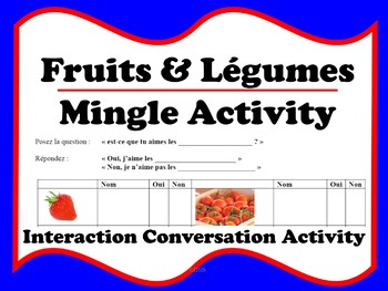 French Fruits & Légumes Conversation Activity