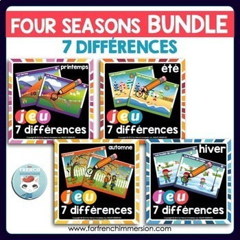 French Four Seasons Game BUNDLE - Find the 7 Differences