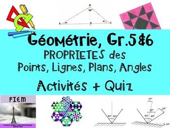French: Géométrie: Propriétés des ANGLES, LIGNES, POINTS,