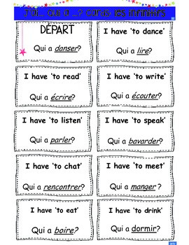 French Grammar: Infinitive Verbs 'I have, Who has' cards