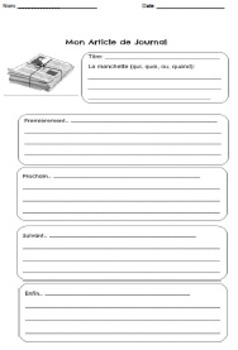 French Graphic Organizer: Analyzing and summarizing a jour