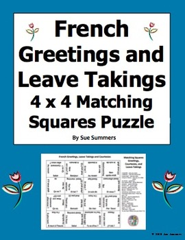 French Greetings, Leave Takings and Courtesies Matching Sq
