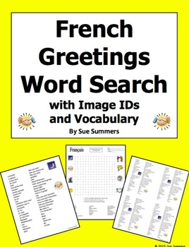 French Greetings and Basics Word Search Puzzle, IDs, and V