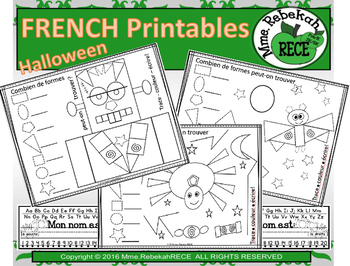 French Halloween Shape Activities Printables