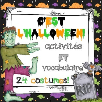 French Halloween Activities & Word Wall - Includes 24 Cost