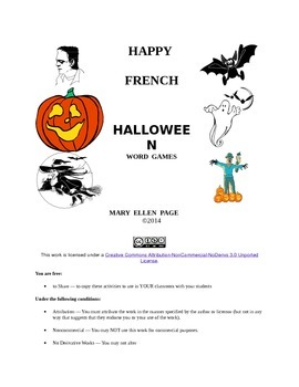 French Halloween Word Games Gr. 6-12