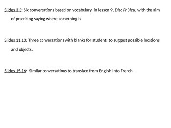French 1, Discovering French Bleu, Unit 4 Lesson 9, Conver