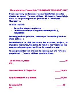 French II Throwback Thursday Imparfait Project