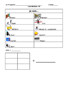 French -IR Verb Vocabulary Note sheet