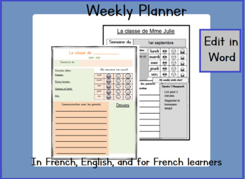 French Immersion Weekly Planner
