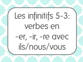 French Infinitive Verbs Lesson 3: 1st/2nd/3rd person plura