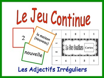 French Irregular Adjective Activity for Groups