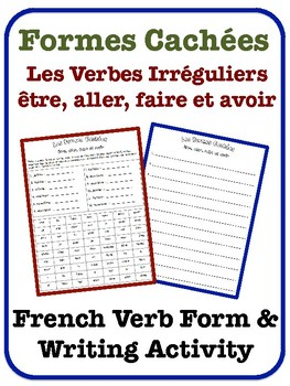 French Irregular Verb Writing Activity (être, aller, faire