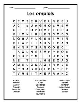 French Jobs Word Search Puzzle - Mots cachés français sur