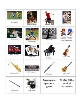 French Jouer à / de; sports, games, instruments, chez moi