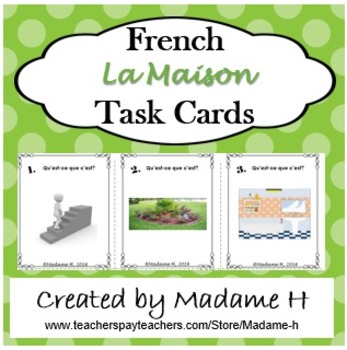 French La Maison Task Cards