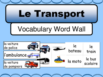 French Le Transport Word Wall – Transportation Vocabulary