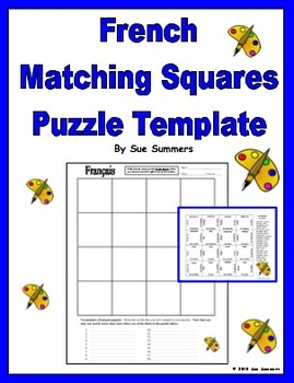 French Matching Squares / Magic Squares Puzzle Template fo