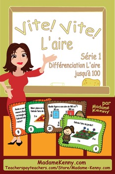 French Math Task Cards Area Series 1- Cartes à tâches L'ai