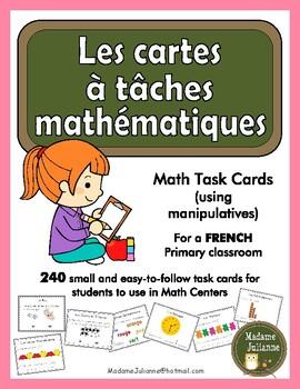 French Math Task Cards (math centers) - Les cartes à tâche
