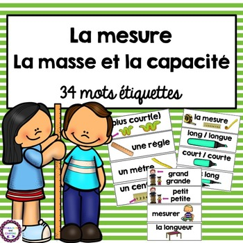 French Measurement Mass and Capacity vocabulary cards (la