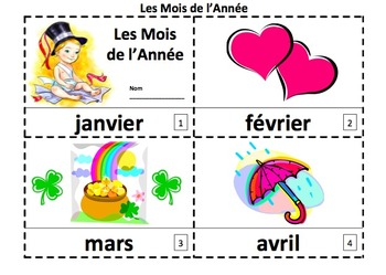 French Months of the Year Emergent Reader - 2 Booklets and