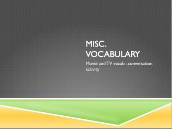 French Movie & TV Vocabulary : conversation activity