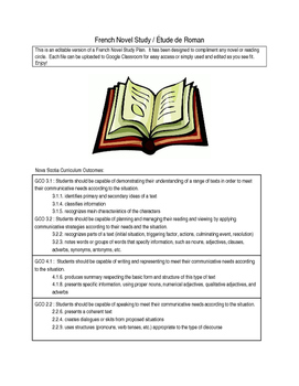 French Novel Study templates