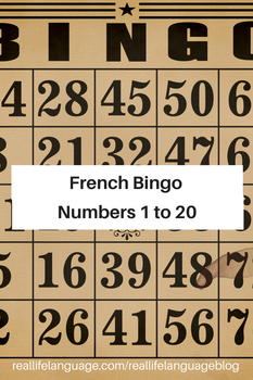 French Numbers 1-20 Bingo