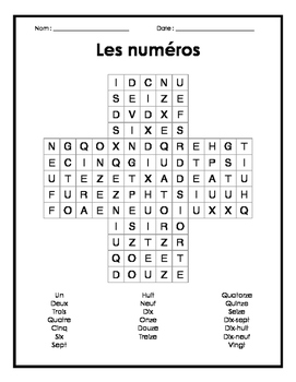 French Numbers Word Search Puzzle - Mots cachés français s