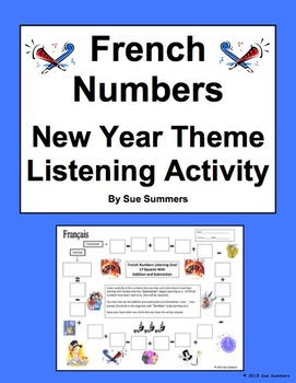 French Numbers and Math Listening Activity New Year Theme