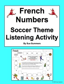 French Numbers and Math Listening Activity Soccer Theme