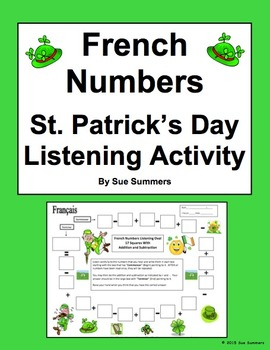 French Numbers and Math Listening Activity St. Patrick's D