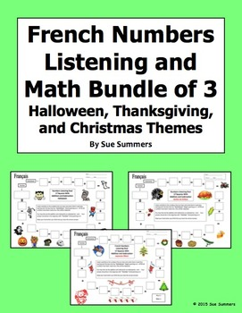 French Numbers and Math Listening Bundle: Halloween, Thank
