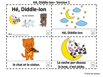 French Nursery Rhyme Hey Diddle Diddle 2 Emergent Reader Booklets