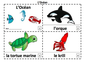French Ocean Marine Life 2 Emergent Reader Booklets - L'Océan