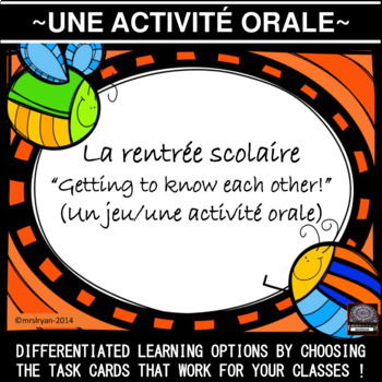French Oral Activity - Getting to know each other - task cards
