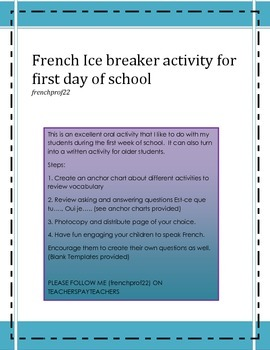 French Oral and written Ice Breaker for back to school Tro
