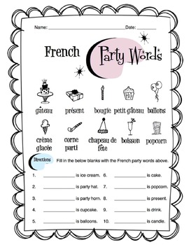 French Party Words Worksheet Packet