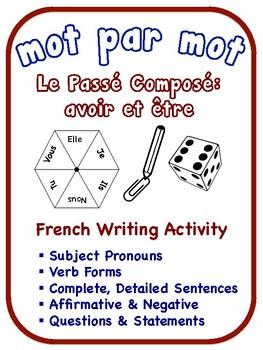 French Passé Composé Writing Activities, avoir + être verb