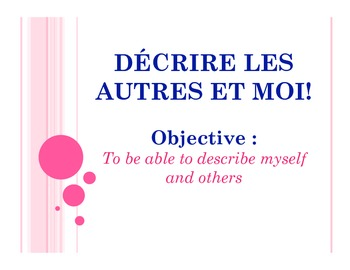 French Physical Description Power Point Notes