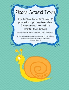 Places Around Town Speaking Activity (French) - Game Cards