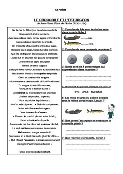 French Poem - worksheet and answer key
