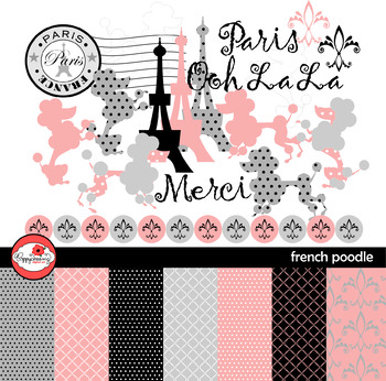 French Poodle Clipart and Digital Papers by Poppydreamz